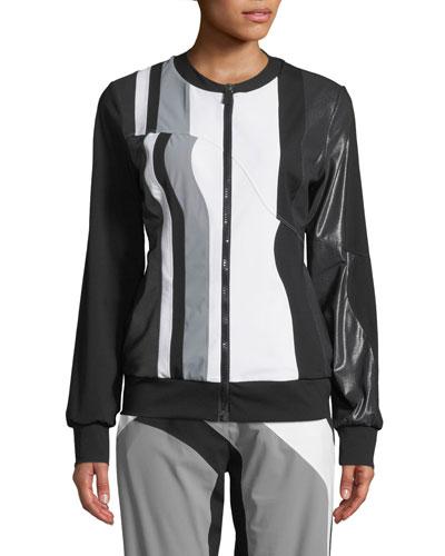 Nola Colorblock Zip-Front Track Jacket