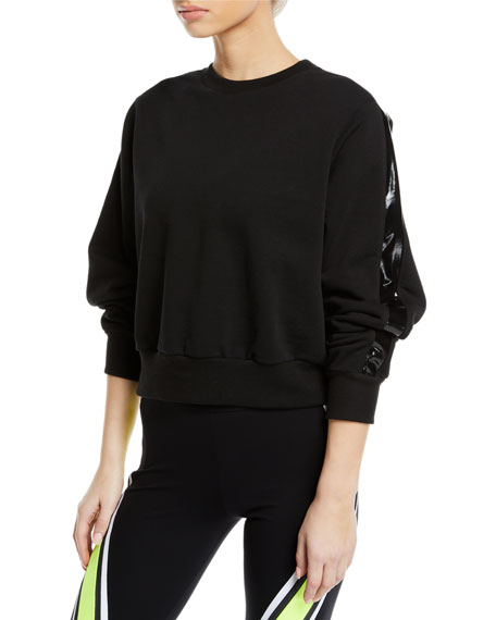No Ka'oi IKE CROPPED SIDE-STRIPE PULLOVER SWEATSHIRT
