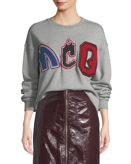 McQ Alexander McQueen Slouchy Embroidered Pullover Sweatshirt