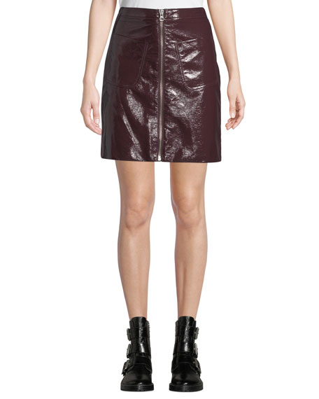 Zip-Front Coated Cotton Mini Skirt w/ Patch Pockets
