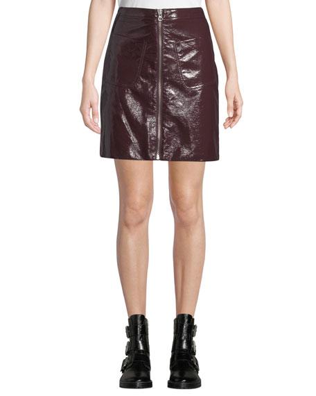 00b44f094 McQ Alexander McQueen Zip-Front Coated Cotton Mini Skirt w/ Patch Pockets