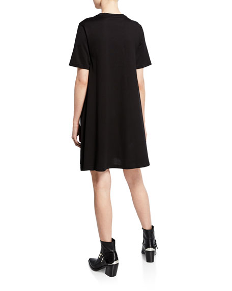 Embellished Swallow Short-Sleeve Cotton Babydoll Dress