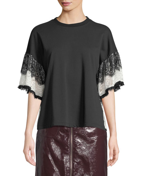 Lace Tiered-Sleeve T-Shirt