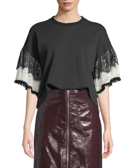McQ Alexander McQueen Lace Tiered-Sleeve T-Shirt