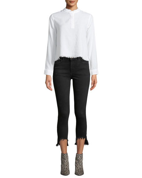 Farrow Cropped High-Rise Skinny with Chewed Hem