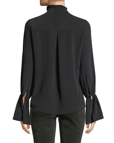 Leyla Ruffle-Collar Silk Bell-Sleeve Blouse