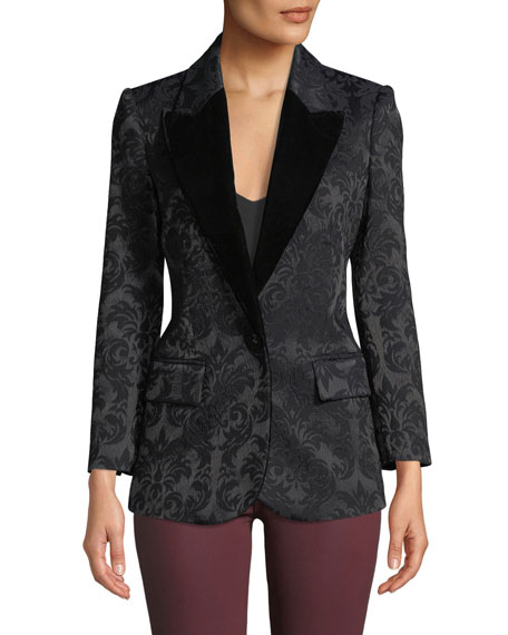 Neval Jacquard Suiting Blazer with Contrast Lapels