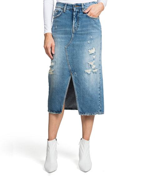 PRPS Split-Front A-Line Denim Midi Skirt