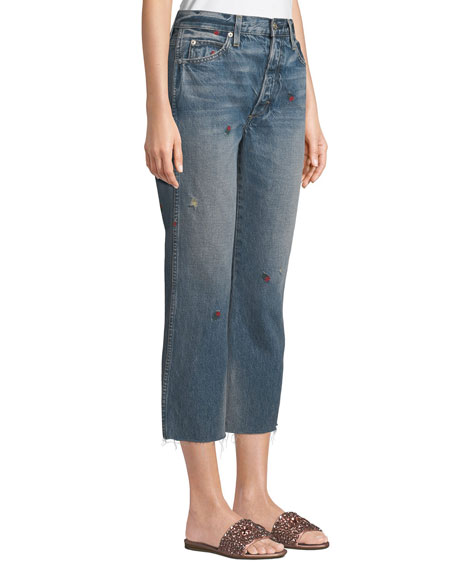 Loverboy Embroidered Straight-Leg Cropped Jeans