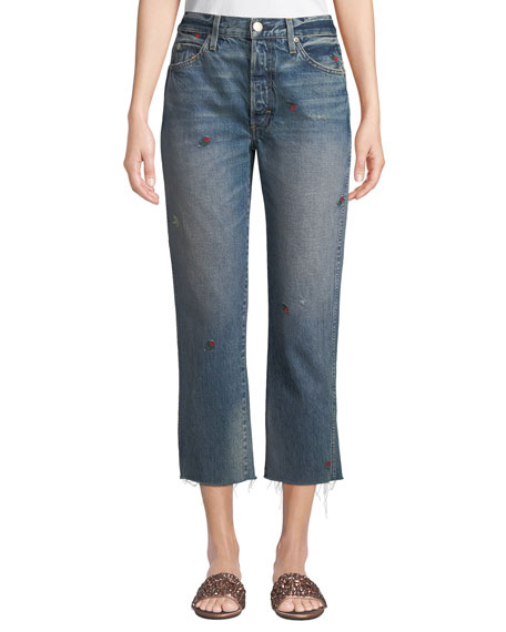 AMO Denim Loverboy Embroidered Straight-Leg Cropped Jeans