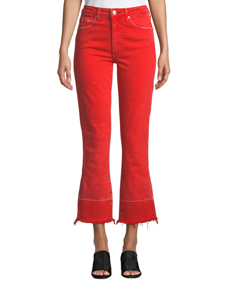 AMO Denim Bella High-Rise Flare-Leg Jeans with Released