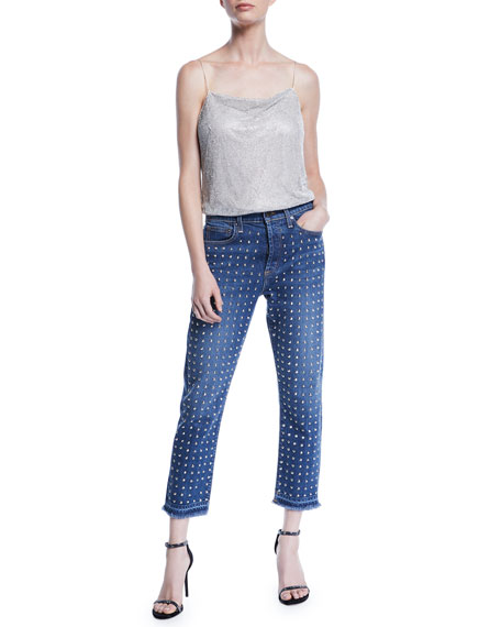 61e152972714 ALICE + OLIVIA JEANS Amazing High-Rise Studded Slim Girlfriend Jeans