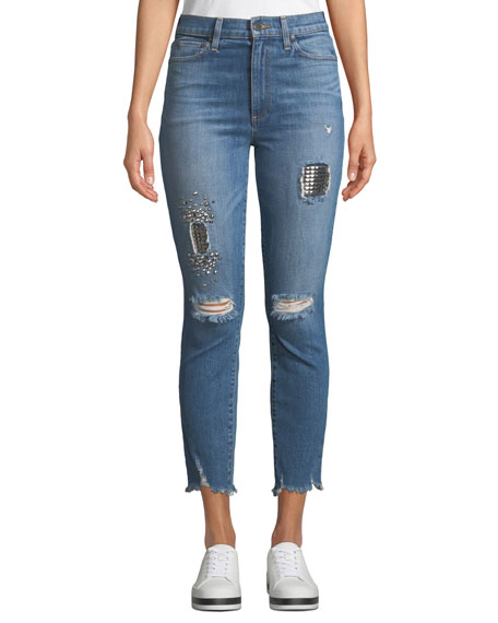ALICE + OLIVIA JEANS Good High-Rise Studded Ankle