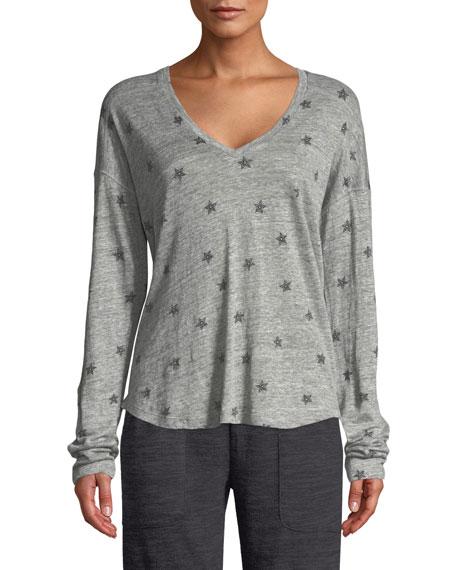 Sami Star-Print Long-Sleeve Top in Gray/Blue