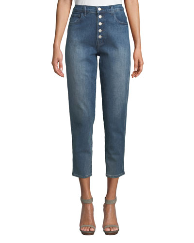 Heather High-Rise Button-Fly Cropped Jeans