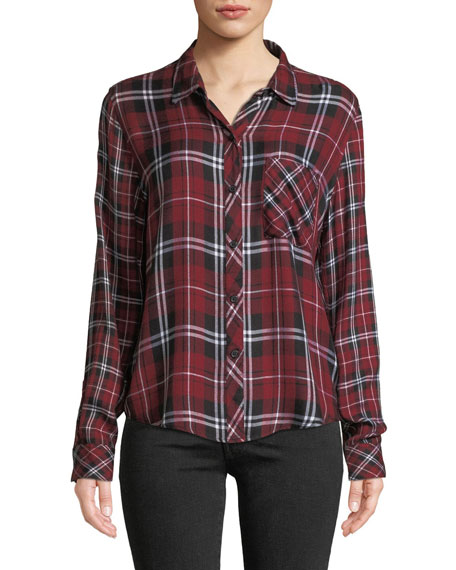 Liza Plaid Button-Front Long-Sleeve Top