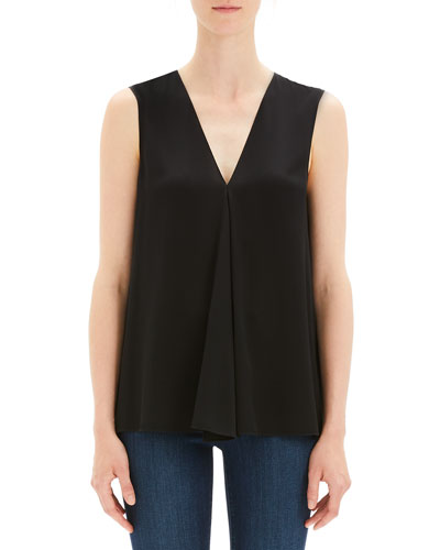 Silk V-Neck Draped-Front A-Line Top