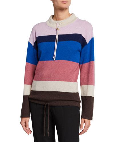 Striped Mock-Neck Cashmere Pullover Sweater