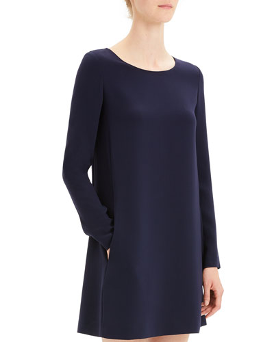 Paneled Crepe Long-Sleeve Shift Dress