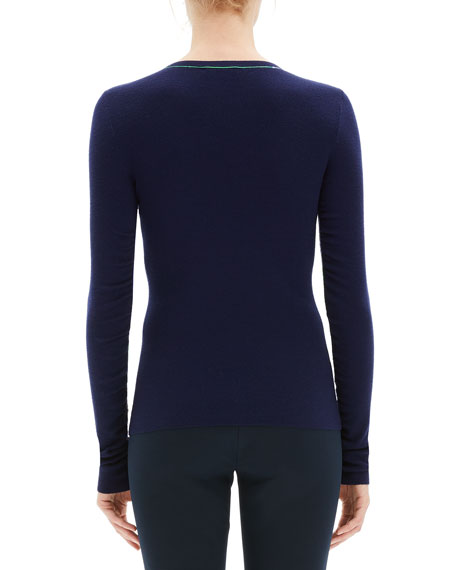 Embroidered Long-Sleeve Wool Sweater