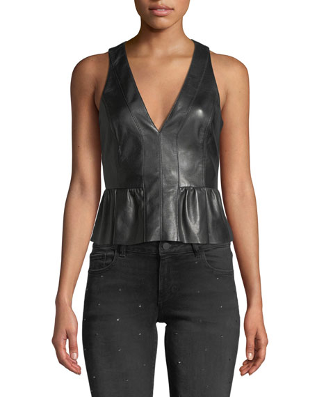 Ramy Brook REESE CROPPED LEATHER PEPLUM TOP