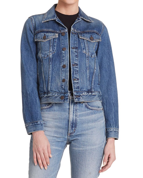Nica Slim Cropped Denim Jacket