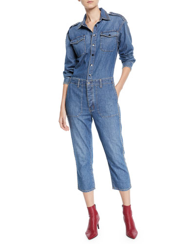 The Crew Coverall Cropped Denim Jumpsuit
