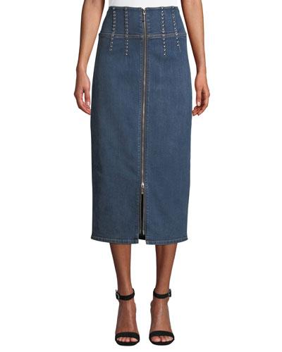 The Trilby Studded Denim Pencil Skirt