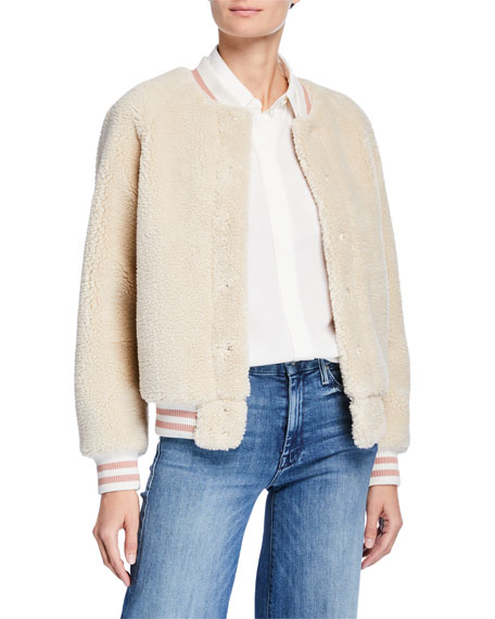 The Snap Letterman Faux-Fur Bomber Jacket in Cream Delux Twill