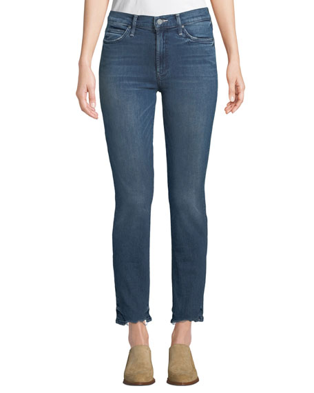 The Rascal Straight-Leg Ankle Jeans with Chewed Hem