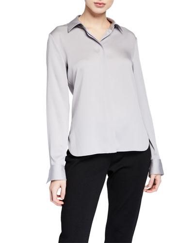 Stretch Silk Classic Fitted Shirt