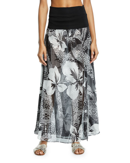 Double-Layer Floral Silk Palazzo Skirt