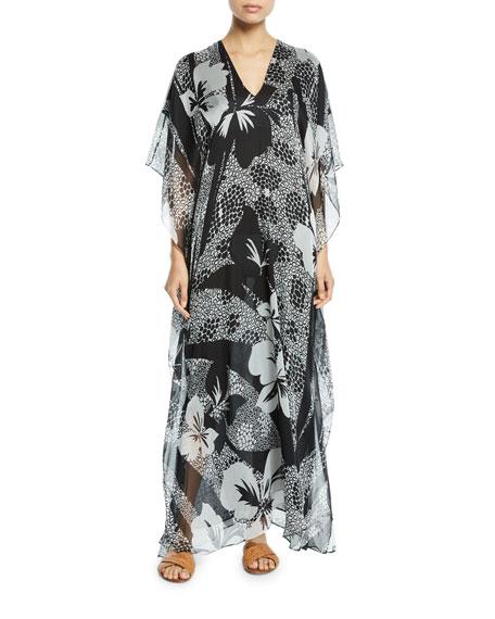 Boubou Floral-Print Chiffon Coverup Dress