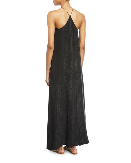 Croco Jacquard Silk Long Sun Dress