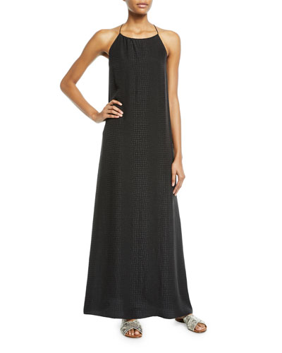 Croco Jacquard Silk Long Sun Dress