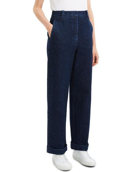 Structured Straight-Leg Cuffed Denim Pants