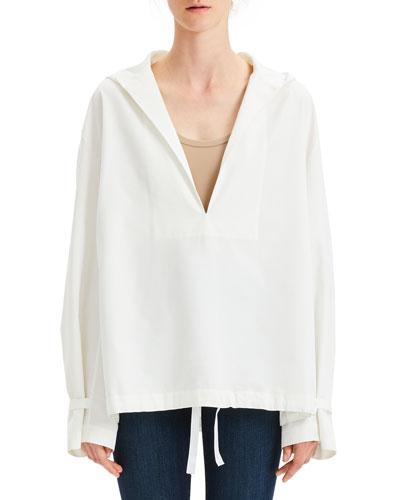 Hooded Boxy Taffeta Pullover Top