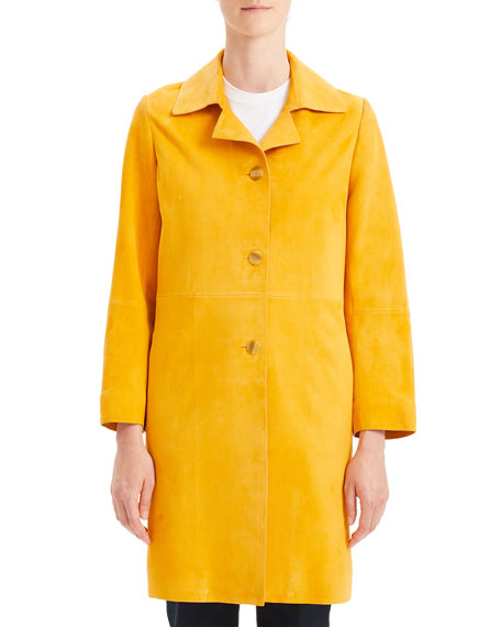 Piazza Suede Button-Front Long Coat