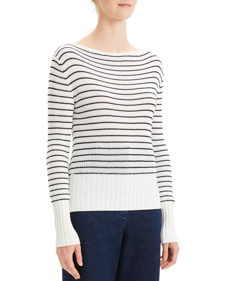 Striped Boat-Neck Pullover Sweater
