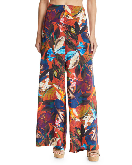 Jets By Jessika Allen IMAGINABLE FLORAL-PRINT WIDE-LEG COVERUP PANTS