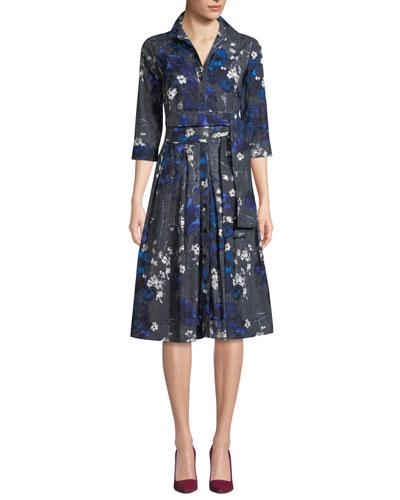 Audrey Floral Holiday-Print Cotton Shirtdress