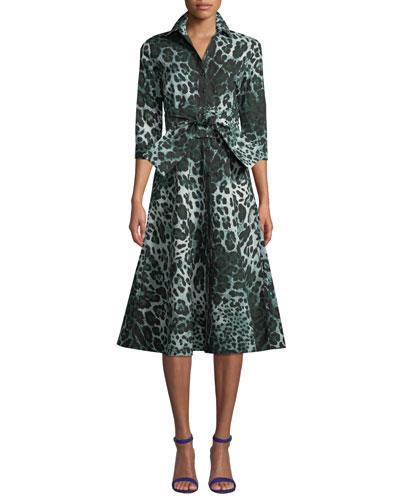 Abel 3/4-Sleeve Safari Leopard-Print Dress