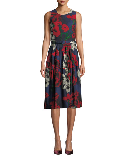 Rachael Crewneck Sleeveless Poppy-Print Dress