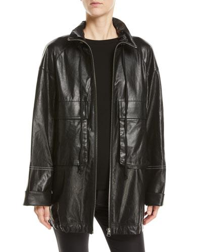 Leather Zip-Front Anorak Jacket