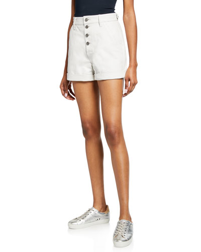 Dash High-Rise Leather Button-Front Shorts