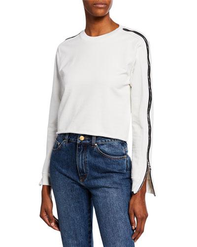 rta clothing denim, jeans \u0026 jackets at bergdorf goodman  november side zip cropped raw edge sweater