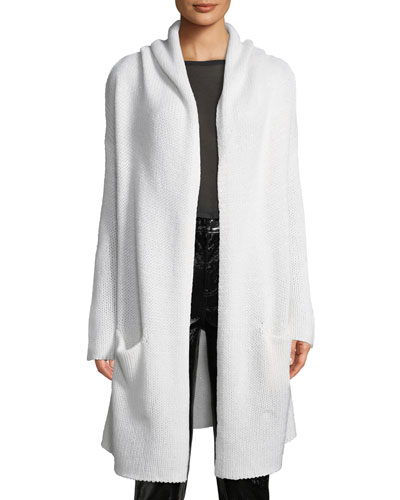 Collete Hooded Open-Front Long Cardigan