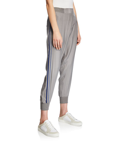 Silk Pull-On Jogger Pants w/ Side Stripes