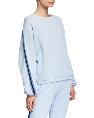 French Terry Dropped-Shoulder Pullover w/ Side Stripes