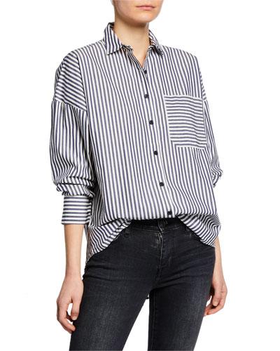 Railroad Stripe Patch-Pocket Boyfriend Shirt